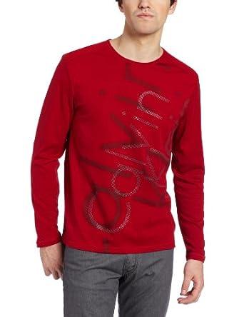 Calvin Klein Sportswear Men's Logo - Long Sleeve Crew Neck Heavy Weight Tee, Cardinal, X-Large