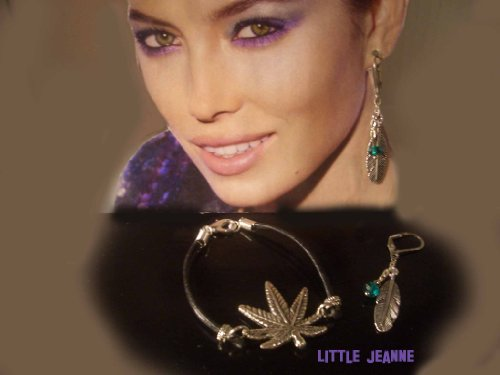 Marijuana Pot Leaf Leather Bracelet Plus Feather with Green Swarovski Crystal Stone Lever Back Earrings