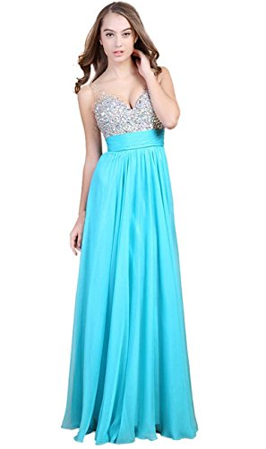 Fanhao-Womens-V-Neck-Sequins-Chiffon-Bridal-Evening-party-Long-prom-dress