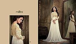 JJR Store Designer White Net Embroidered Dress material