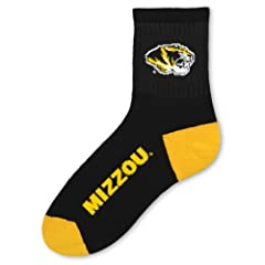 NCAA Missouri Tigers Team Quarter Socks, Large by For Bare Feet