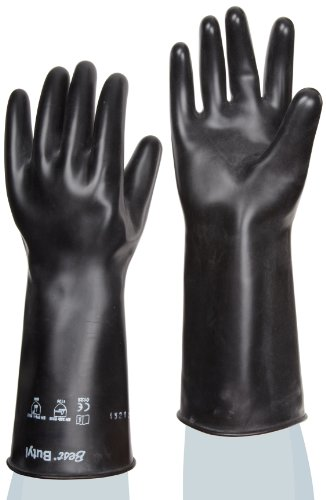 Showa Best 878 Unlined Butyl Glove, Smooth Grip, Rolled Cuff, Chemical Resistant, 25 mils Thick, 14