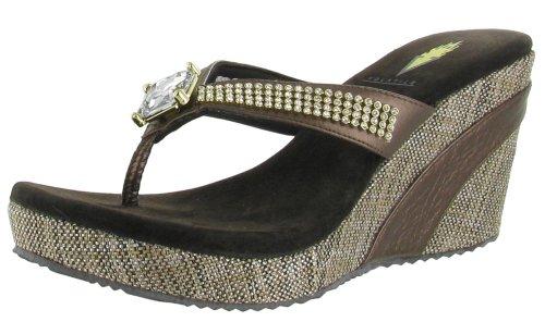 11faaa4efde Volatile Jaida Women s Wedge Flip Flops Platform Sandals Rhinestones Brown Size  8