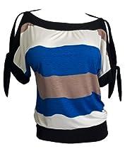 eVogues Plus size Off Shoulder Color Block Top Royal Blue - 3X