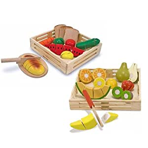 Melissa Doug Wooden Cutting Food Value Pack Play Food Set Toys Games