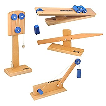 ETA hand2mind, Simple Wooden Machine Collection 2: Inclined Plane/Cart, Pulley, Lever, Wheel & Axle Models, (23120)