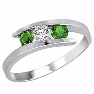 Platinum Three 3 Stone Round Diamond & Emerald Accented Channel Set Bypass Ring (1/2 ctw) Size 13