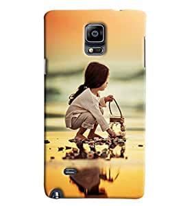 Blue Throat Girl Sitting Printed Designer Back Cover/Case For Samsung Galaxy Note 4