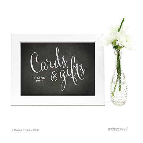Andaz Press Wedding Framed Party Signs, Vintage Chalkboard Print, 5x7-inch, Cards and Gifts Thank You, 1-Pack, Includes Frame