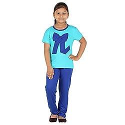 FICTIF Kid Girl's Blue Color Top & Pyjama Set