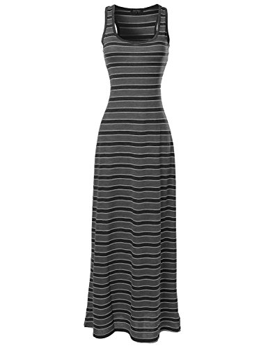 Stripe Tank Maxi Dress Black Heather Gray Size L
