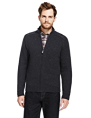 2in Longer Blue Harbour Pure Lambswool Zip Through Cardigan