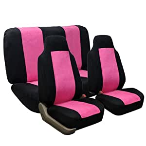 fh fb105112 classic suede car seat covers pink black color airbag compatible and. Black Bedroom Furniture Sets. Home Design Ideas
