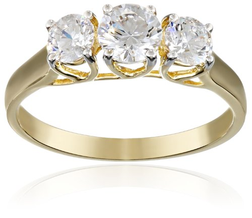 10k Yellow Gold 3-Stone Round Ring Made with Swarovski Zirconia (1  cttw), Size 7