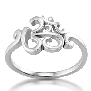 Chuvora 925 Sterling Silver Calligraphy Style Yoga, Aum, Om, Ohm, India Symbol Ring, US Size 6, 7, 8, 9