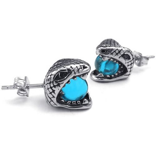 Konov Jewelry Mens Cubic Zirconia Stainless Steel Gothic Snake Stud Earrings, Blue