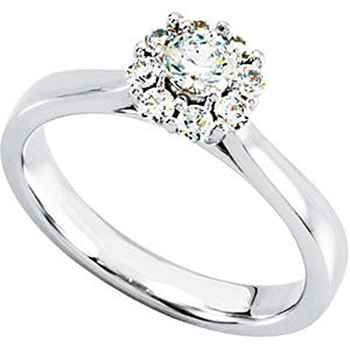 1/2 Cttw Halo-Styled Cluster Engagement Ring In 14K White Gold ( Size 6 )