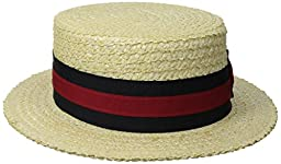 Scala Men\'s Straw Boater, Bleach, Small