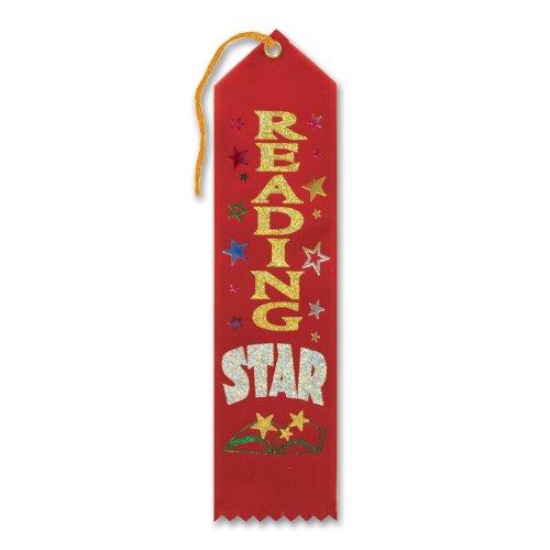 """Reading Star Award Ribbon 2"""" x 8"""" Party Accessory - 1"""
