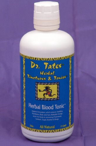 Dr. Tates Herbal Blood Tonic - The TOTAL All Natural Blood Cleanser. Where do you start? Start with THIS! Dr. Tates' Herbal Blood Tonic will help cleanse your Kidneys, Liver, Lymph Glands, Blood and Uninary Tract of Salt, Sugar, Cholesterol and Acid quickly and safely. Need ENERGY - look no FURTHER! Great Apsorption Rate, Compliments your Vitamins, Minerals & Herbs. Order Today!