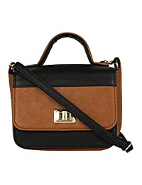 Berrypeckers Tan Black Color Block Sling Bag