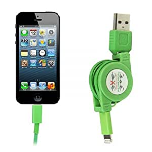 8Pin USB Sync Charger Adjustable Cable for iPhone 5 iPod Touch 5 Nano7 iPad Mini Color Green