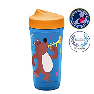 Zak! Designs Baby Genius Toddler Perfect Flo Sippy Cup with Independent Doer Old MacDonald Graphics, Double Wall Insulated Tumbler and Adjustable Flow Valve, Leak Proof, BPA-Free Plastic 8.7 oz