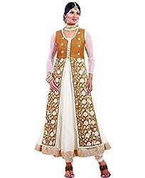 Shayona Women's Net Semi Stitched Dress Material_SSE722006SRK_White_Free Size