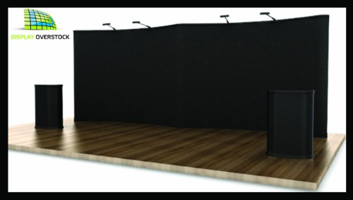 Trade Show Exhibit Pop Up Display Booth - 20' Gull Wing Display **Black Velcro Fabric**