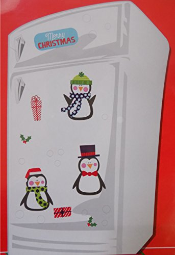 Christmas Themed Magnet Decoration Set for Refrigerator or Metal Door (Christmas Penguins) (Penguin Fridge compare prices)