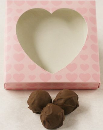 Scott's Cakes Milk Chocolate Covered Chocolate Marzipan Truffles in a 1 Pound Pink Heart Box