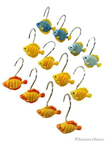 Colorful Fish Hooks Bath Curtain Shower Rings Chrome & Resin Ring Set 12 Pcs