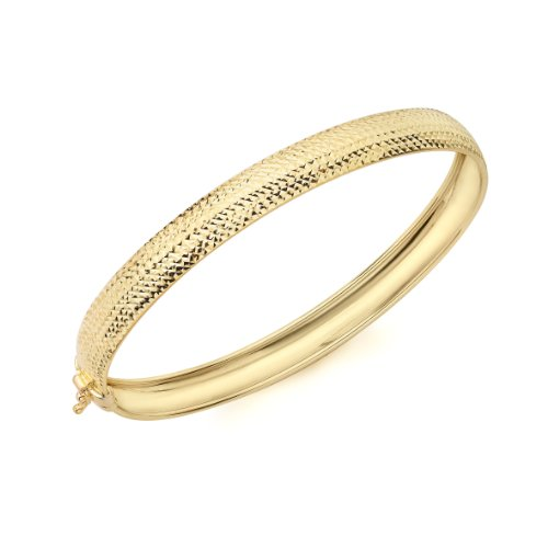 9ct Yellow Gold Half Diamond Cut Bangle