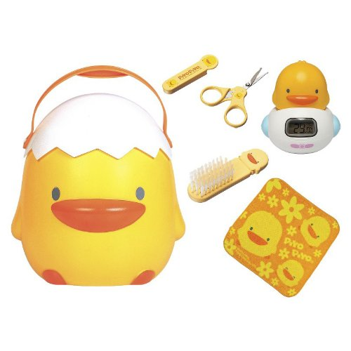 Perfect 6pc Baby Bathing Gift Set in Big Yellow Duckling Storage Case - 1
