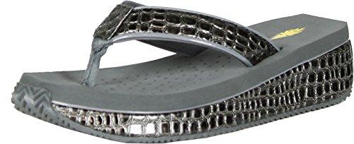 Volatile Women'S Mini Croco Wedge Thong,8 B(M) Us,Pewter front-1004911