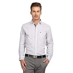 British Line White Color Slim Fit Striped Shirt