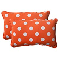 Pillow Perfect Indoor/Outdoor Polka Dot Corded Rectangular Throw Pillow, Orange, Set of 2 by Pillow Perfect