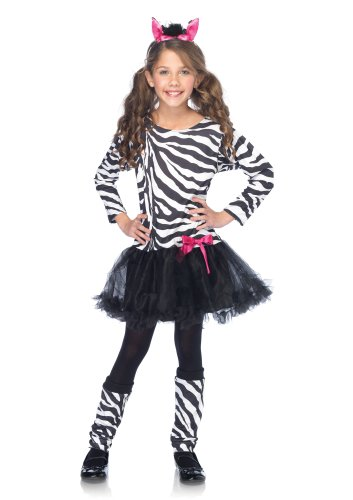 Leg Avenue Costumes 3Pc.Little Zebra Petticoat Dress with Tail Warmers Ear Headband, Black/White, Small