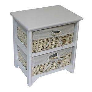 Jvl mueble con 2 cajones mimbre y madera color blanco - Cajones de mimbre ...