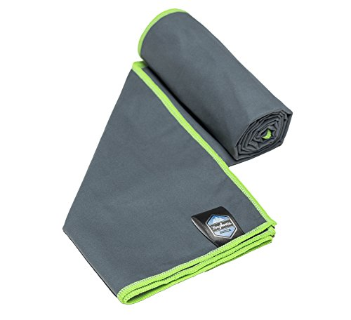 Youphoria Sport Towel and Travel Towel - Super Absorbent and Quick Drying! Camping, Beach, Pool, Gym or Bath. 100% Satisfaction Guarantee! (Gray/Green, 28