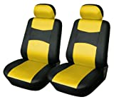 Vinyl 2 Front Car Seat Covers Toyota 859 Black/Yellow