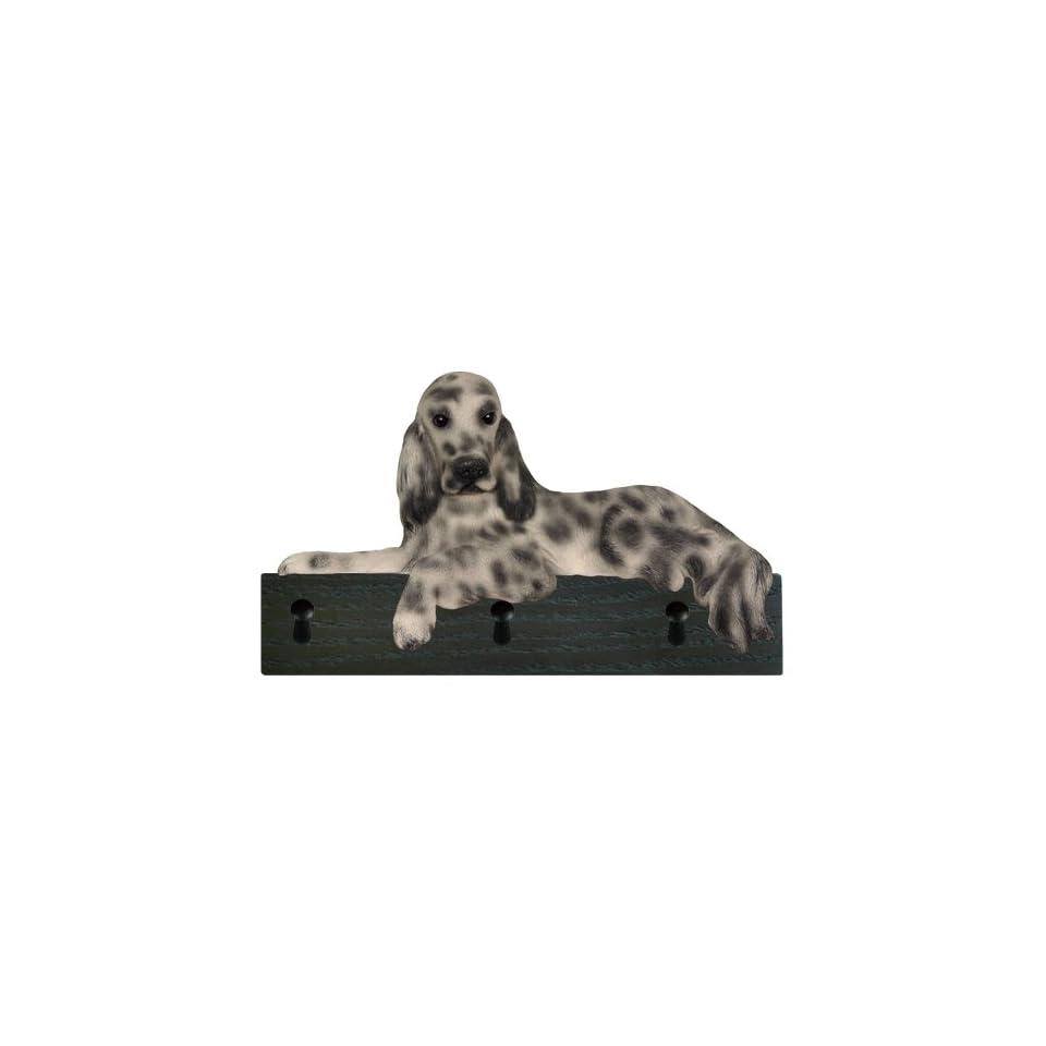 Blue Belton English Setter Dog Figurine Key Ring and Leash Holder Gift Wall Peg Hook Hanger Rack