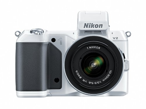 Nikon 1 V2 14.2 MP HD Digital Camera with 10-30mm &amp; 30-110 VR 1 NIKKOR Lens (White)