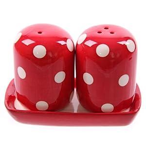 Ceramic Polka Dot Red And White Salt And Pepper Set