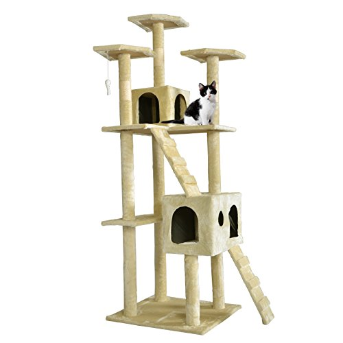 BestPet CT-9073 Cat Tree Scratcher Play House Condo Furniture Toy, 73-Inch, Beige (Cat Houses & Condos compare prices)