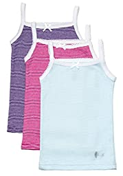 Feathers Girls Multi Stripe Tagless Cami Super Soft Undershirts (3/pack), 10 years, Multi Stripe