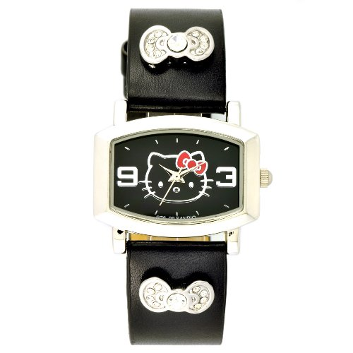 Hello Kitty Kids' HK1434 Black Strap Bow Accented Silver-Tone Watch