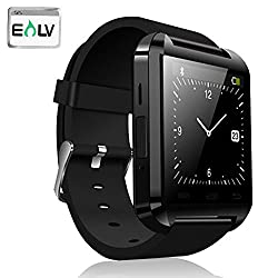 Smart Watch, E LV High Quality Touch Screen Bluetooth Smart Wrist Watch For Android Smartphones Samsung,HTC and more + Microfiber Cleaning Cloth (Not compatible with Apple iOS) - BLACK