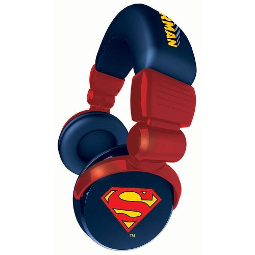 Ihip Dcf10264Su Superman Dj Style Over-Ear Headphones (Red)