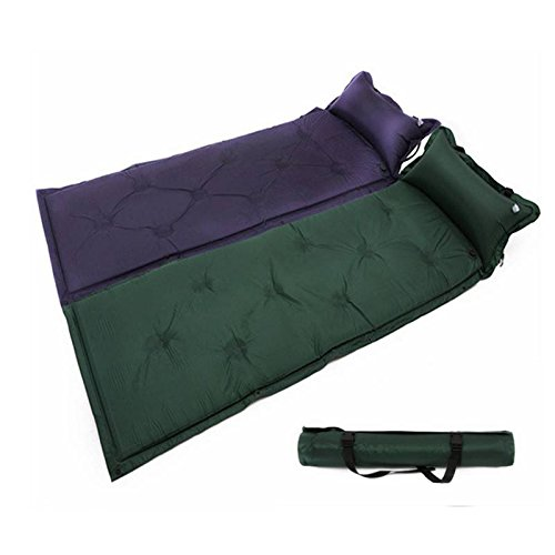 CAMTOA Self-Inflating Camping Sleeping Pad with Attached Pillow Deluxe Camping Sleeping Air Pad Mattress Basecamp Sports Comfort Lite Self Inflating Filled Camper With an Inflatable Pillow Army Green